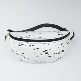 Paint Spatter Black on White Fanny Pack