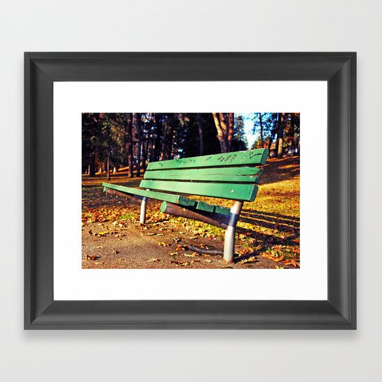 Autumn park bench Framed Art Print