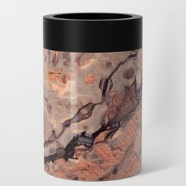 Rose Gold, Black, Grey, and White Paint Pour Waves Can Cooler