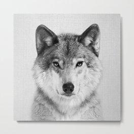 Wolf 2 - Black & White Metal Print