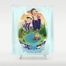 Couple custom illustration for I&S Shower Curtain