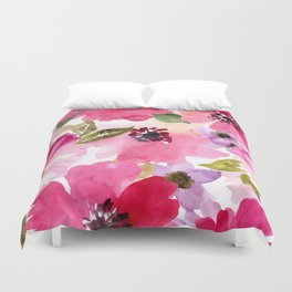 Watercolor Flowers Pink Fuchsia Duvet Cover