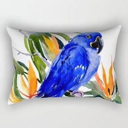 Hyacinth Macaw, Tropical colors foliage, jungle paradise flowers blue orange jungle colors Rectangular Pillow