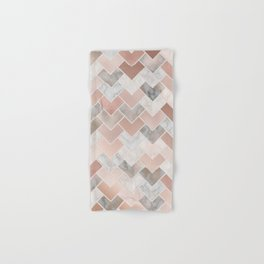 Rose Gold and Marble Geometric Tiles Hand & Bath Towel