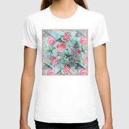 Vintage Watercolor hummingbird and English Roses T-shirt