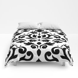 Scroll Damask Large Pattern Black on White Comforters