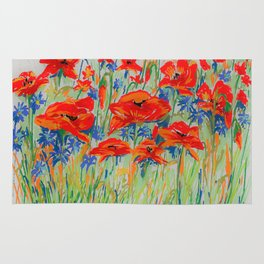 poppies and corn-flowers Rug