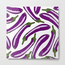 Purple Eggplants Metal Print