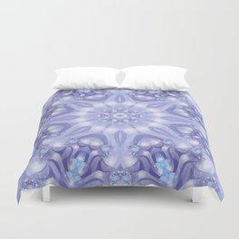 Light Blue, Lavender & White Floral Mandala Duvet Cover