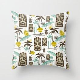 Island Tiki - White Throw Pillow