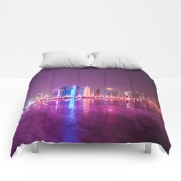 doha skyline Comforters