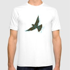 Bird Fly No. 2  (Brown/Aqua) SMALL White Mens Fitted Tee
