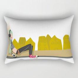 fashion hipster music illustration girl Rectangular Pillow