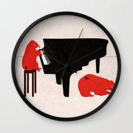 A Sleepy bear playing piano Wall Clock