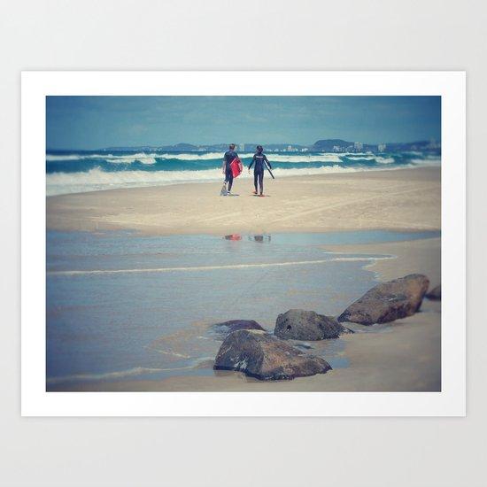 Surfers at Gold Coast beach Art Print