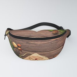 Christmas Holiday Rustic Decor Wooden Planks Fanny Pack