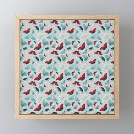 Fluttering in Red and Teal Framed Mini Art Print