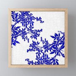 BLUE AND WHITE  TOILE LEAF Framed Mini Art Print