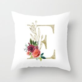 Gold Foil Monogram Letter E with watercolor flowers Throw Pillow