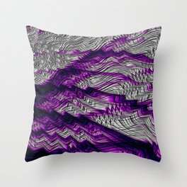 Purple And Silver Fractal Lightning Throw Pillow