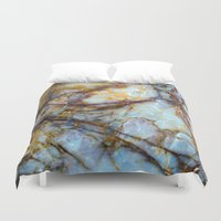 blood Duvet Covers featuring Marble by Patterns and Textures