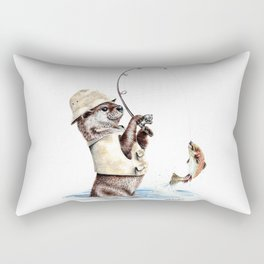 """"""" Natures Fisherman """" fishing river otter with trout Rectangular Pillow"""