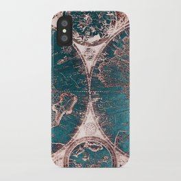 Antique World Map Pink Quartz Teal Blue by Nature Magick iPhone Case