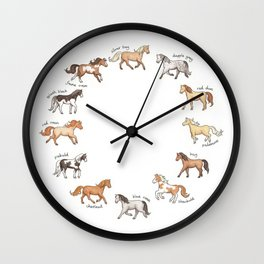 Horses - different colours and markings illustration Wall Clock