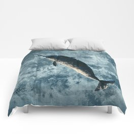 """""""Jackson the Narwhal"""" by Amber Marine ~ Art (Copyright 2015) Comforters"""