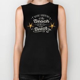 Happy Beach Life- Saying on aqua wood Biker Tank