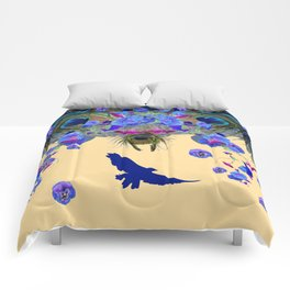 BLUE MORNING GLORIES & FLYING BLUE BIRD ART Comforters