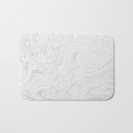 Elegant white silver glitter abstract marble Bath Mat