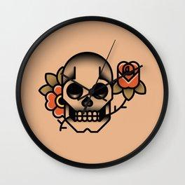 Skull Rose Tattoo Wall Clock