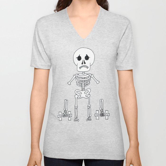 Skeleton can't lift weights... Unisex V-Neck