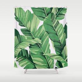 Tropical banana leaves V Shower Curtain