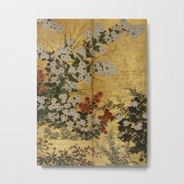 White Red Chrysanthemums Floral Japanese Gold Screen Metal Print