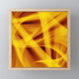 A flowing pattern of smooth yellow lines on a brocade veil with transparent luminous transitions. Framed Mini Art Print