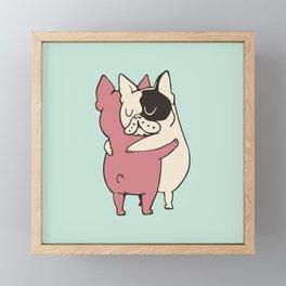 French Bulldog  Hugs Framed Mini Art Print
