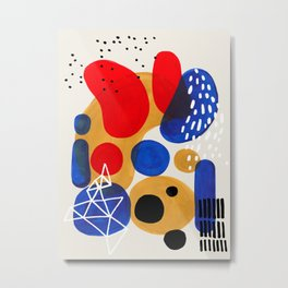 Fun Mid Century Modern Abstract Minimalist Vintage Primary Colors Blue Red Yellow Bubbles Metal Print