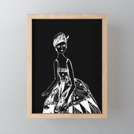 French girl black-white illustration Framed Mini Art Print