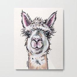 Maggie the Alpaca, Alpaca Art Metal Print