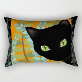 Black Kitty Cat In The Garden Rectangular Pillow