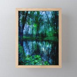 Enchanted Forest Lake Green Blue Framed Mini Art Print