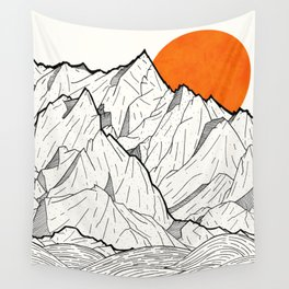 The orange sun Wall Tapestry