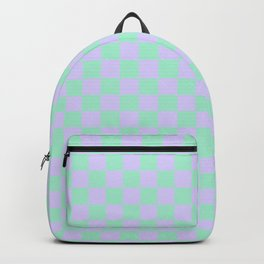 Magic Mint Green and Pale Lavender Violet Checkerboard Backpack