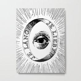 Black and White Mystic Alchemy Aurora Eye Stencil Design  Metal Print