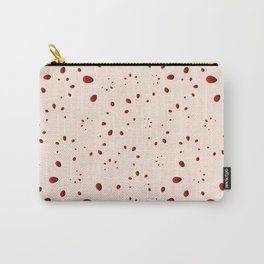 A lot of red drops and petals on a pink background in mother of pearl. Carry-All Pouch