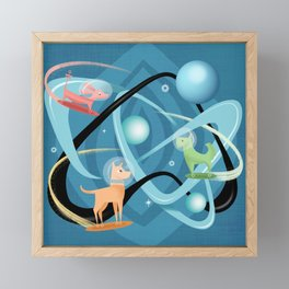 Atomic Rocket Powered Space Dogs Framed Mini Art Print
