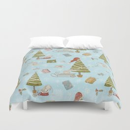 From Mice And Christmas-Cute teal X-Mas Pattern Duvet Cover