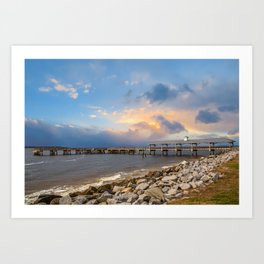 Pier and Seawall in Late Afternoon Art Print